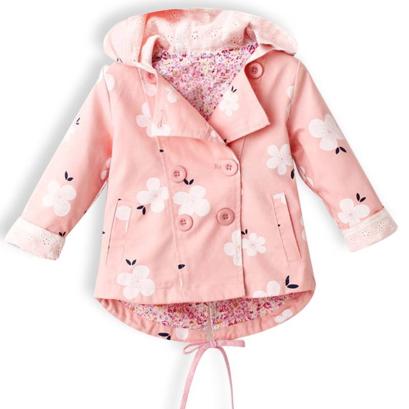 Новый Кружево Весенне-осеннее пальто для малышей Детская верхняя одежда Куртки одежда с капюшоном для малышей Верхняя одежда для девочек с ...