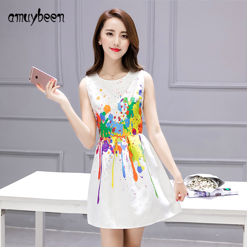 Amuybeen Hot Summer Dress 2017 Sleeveless Mother Dresses Printed Women Sexy Party Dresses White Nina Clothes Cute Flower Dress