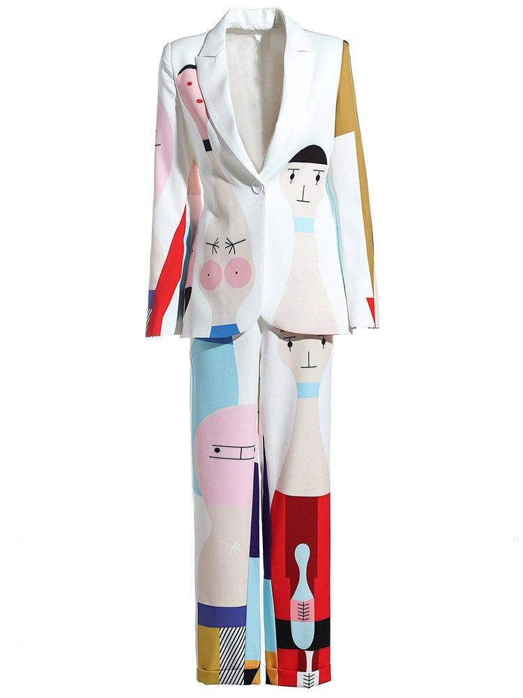 KoHuiJoo Runyway Vestito di Pantaloni di Modo Delle Donne Rappezzatura Del Fumetto di Stampa High Street A Manica Lunga Giacca Sportiva e Pantaloni Set 2 Pezzi - 4