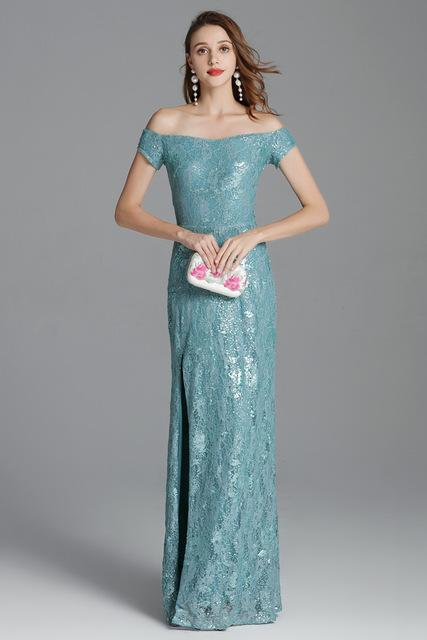 Luxury Autumn Women's Runway Dresses Sexy Slash Neckline Split Party Prom Embroidery Sequined Lace Elegant Long Designer Dresses