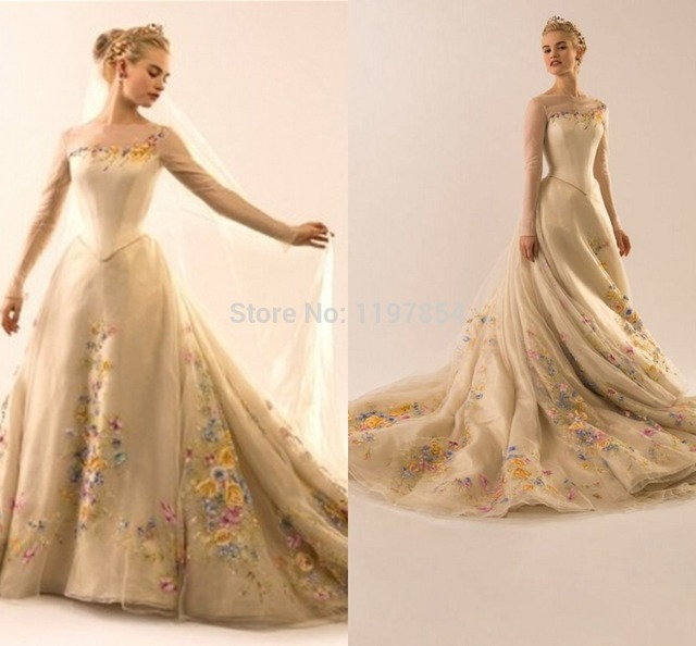 Cinderella Evening Dress 2015 Boat Neck Long Sleeves See Through