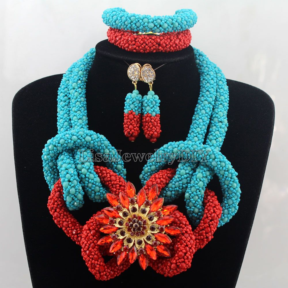 Splendid Statement Necklace African Jewelry Set African Crystal Jewelry Set for Wedding Statement Necklace Jewelry HD7496 nylon rope alloy statement necklace set