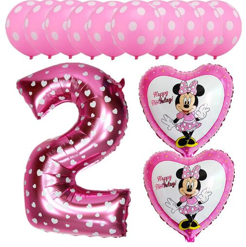 13pcs Pink Blue Mickey Minnie Baby 2 Years Old childrens Birthday Balloons Foil Helium Latex Globos kid's Party Decor Supplies