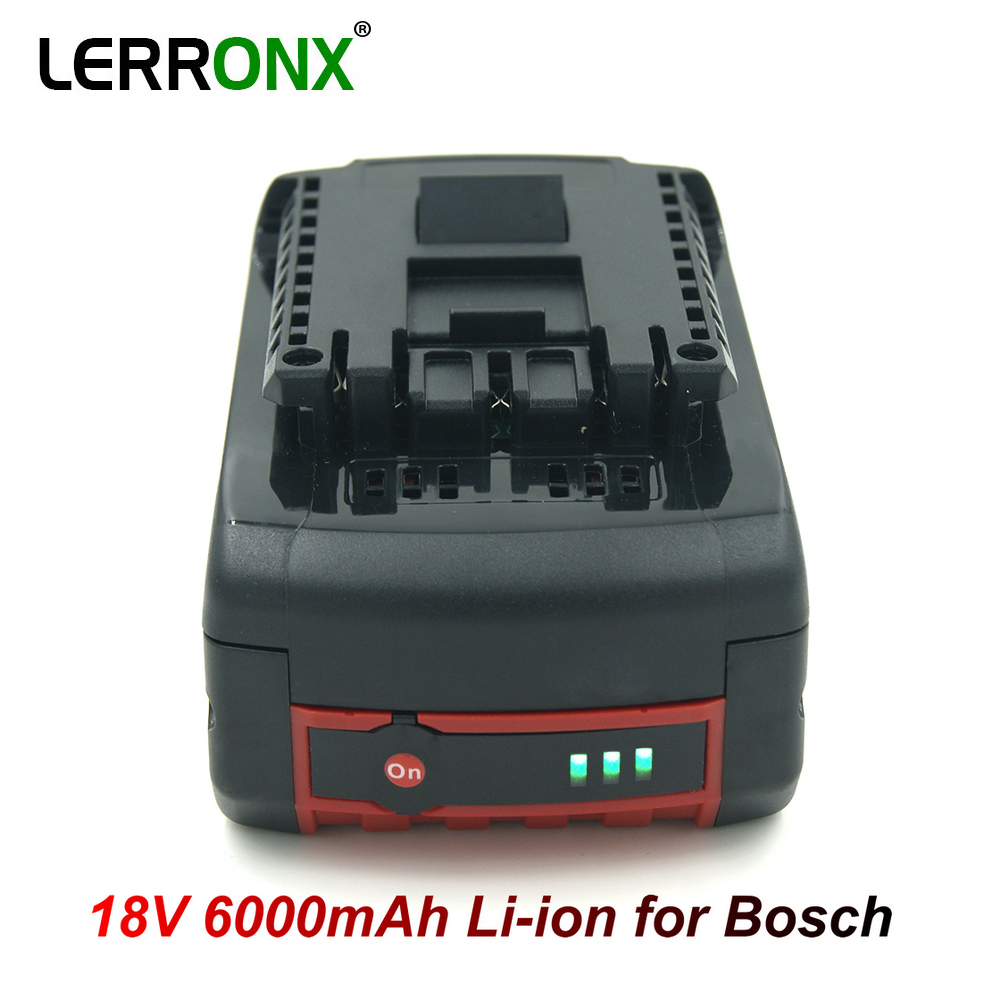 LERRONX BAT609 Replacement Rechargeable <font><b>Battery</b></font> <font><b>18V</b></font> 6000mAh Li-ion for <font><b>Bosch</b></font> Cordless Drill <font><b>Battery</b></font> BAT622 BAT610G BAT618 BAT621 image