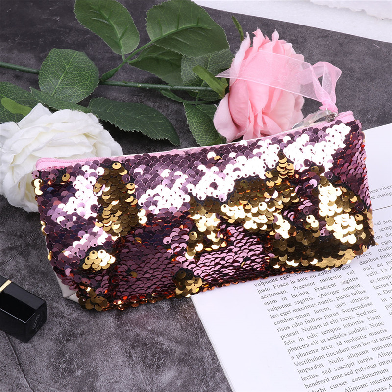 Fashion Mermaid Sequin Makeup Bag Purse Pouch Sparkling Make up Bag Shiny Cosmetic Bag Shining Reversible Clutch Handbag