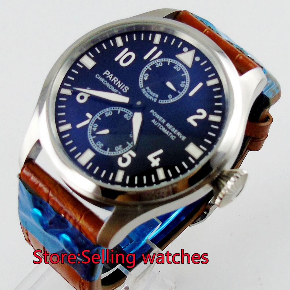 цена на 47mm parnis black dial power reserve automatic mens watch