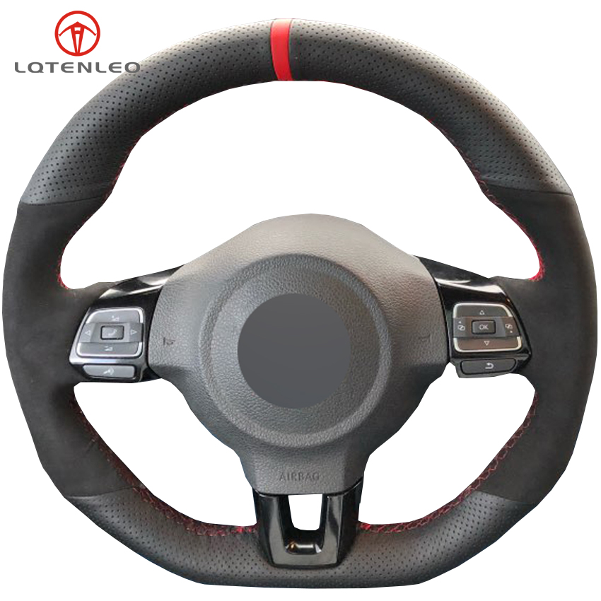 LQTENLEO Black Suede Genuine Leather Steering Wheel Cover For Volkswagen Golf 6 GTI MK6 VW Polo
