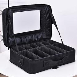 المهنية ماكياج الكتف حقيبة مستحضرات التجميل كبيرة الأدوات تخزين يد مع مرآة السفر الجمال مسمار مربع رسول أكياس حقيبة