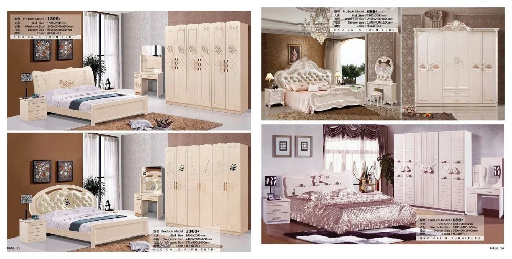 Modern European Solid Wood Bed Fashion Carved  Leather  French Bedroom Set Furniture King Size HC00112