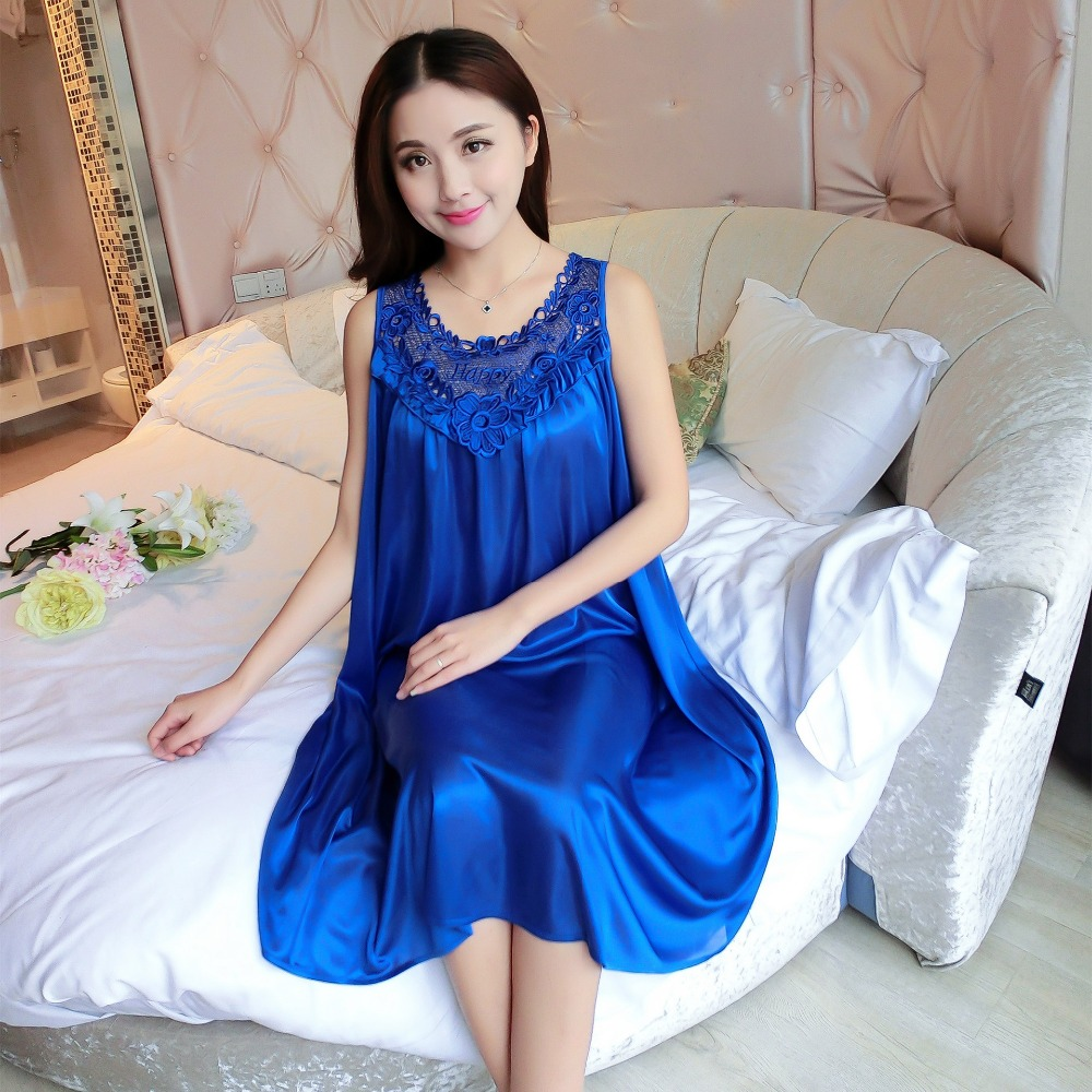 2019 New Ladies Silk Sleepwear Summer Nightgown Sexy Lingerie Pink Nightdress for Women Satin Sleep Shirts Chemise Night Dress image