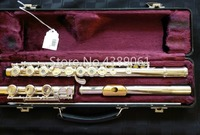 New ARMSTRONG 303 C Tune Cupronickel Flute Silver Plated Surface Gold Plated Lip E Key 17 Holes Open Flute Musical Instrument