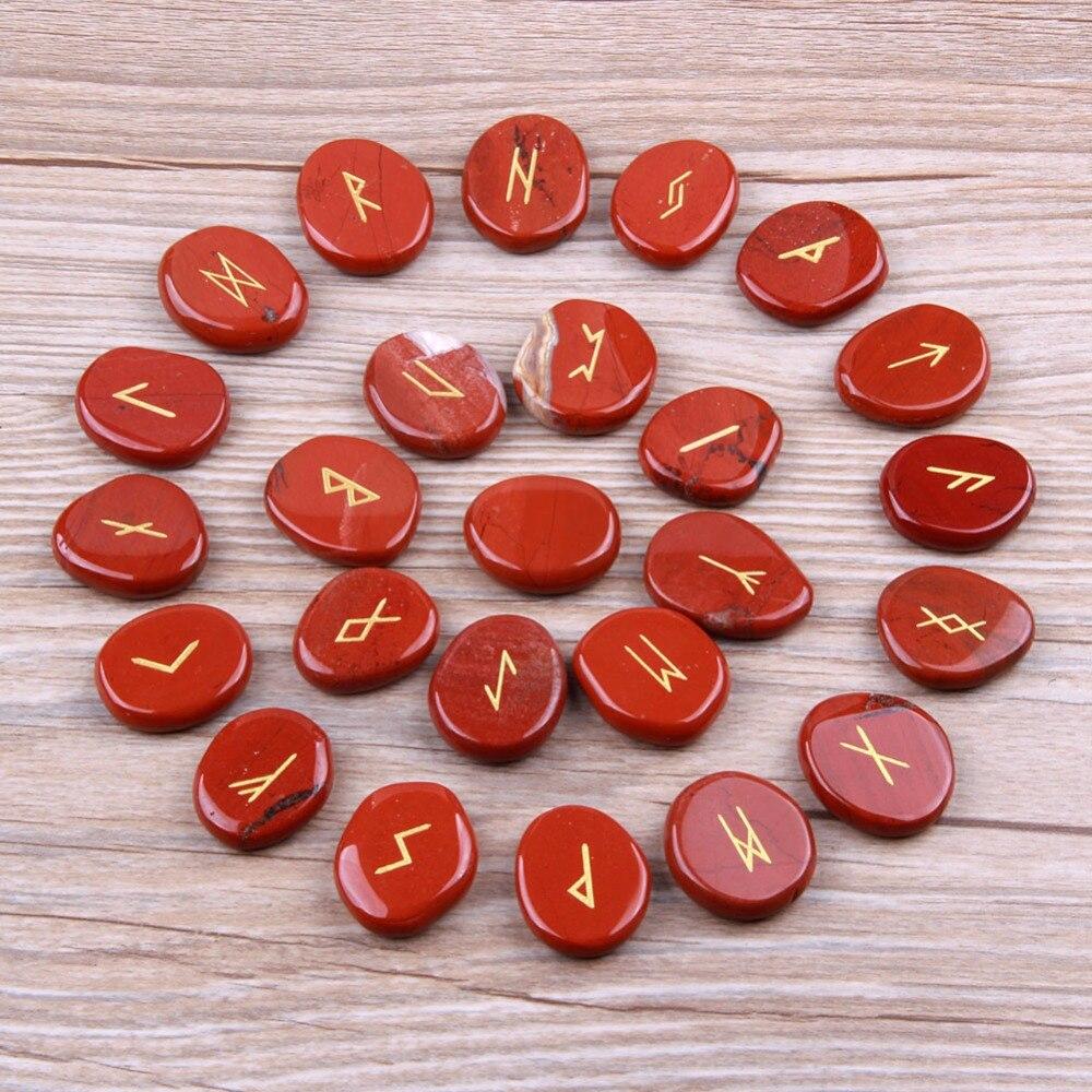 Jaspe rouge naturel pierre nordique Viking Runes Set cristaux de palmier de guérison artisanat Feng Shui décoration 25 pièces avec sac de velours gratuit