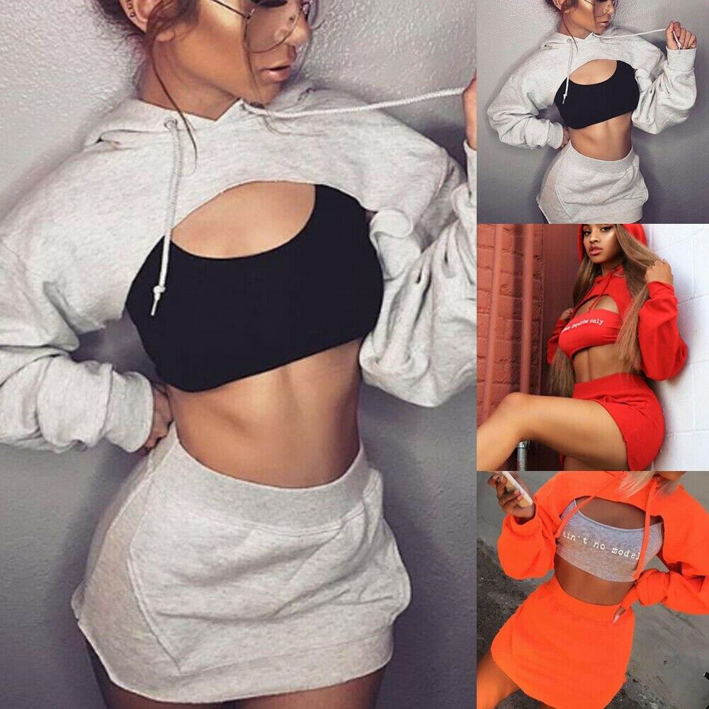 2pcs Set Sexy Hip Hop Women Hooded Pullover Long Sleeve Crop Top Short Mini High Waist Skirt Bodycon Evening Party