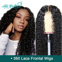 Ali Grace Brazilian Deep Wave 360 Lace Frontal Wigs Pre Plucked With Baby Hair 250% Density Human Hair Wigs For Black Women(China)