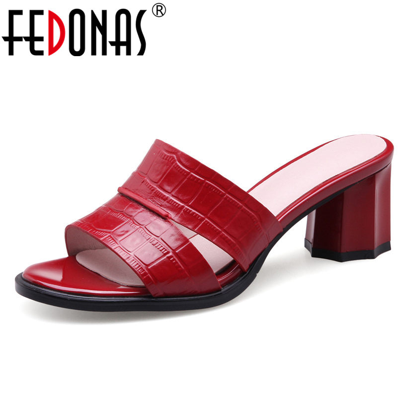 FEDONAS Fashion Women Sandals Genuine Leather Summer Shoes Woman Thick Heel Comfort Sexy Red Black High Qulity Sandals Slippers fedonas brand women summer gladiator low heeled sandals fashion comfort slippers genuine leather elegant shoes woman sandals