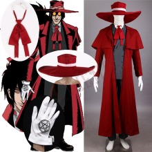 Athemis New Vampire Hunter Cosplay Hellsing Alucard Costumes Cool Man Suit and High Cotton Content Long Coat  Best Outfits hellsing alucard cosplay red mens hellsing cosplay costume