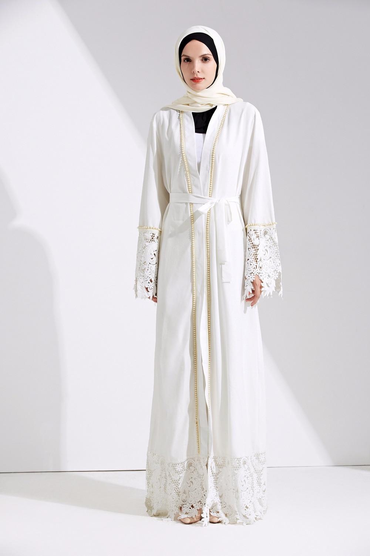 Femmes musulmanes blanc crêpe abayas dentelle perle caftan outwear