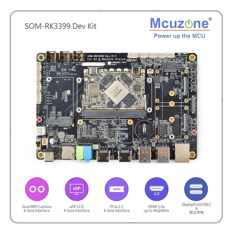 SOM-RK3399 AI Developer Kit WiFi BT Support Gbps Ethernet And Dual-screen Display Android/Ubuntu/QT/buildrootHDMI IN/OUT