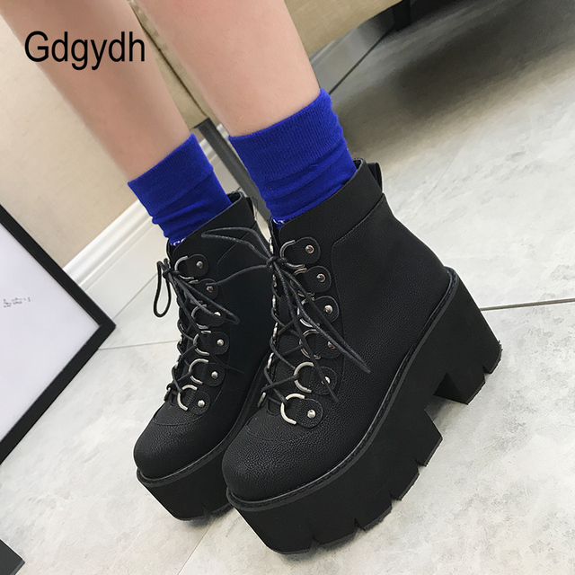 Gdgydh 2020 New Ankle Shoes Women Lacing Motorcycle Boots Square Heels Casual Shoes Autumn Platform Heels Leather Short Boots