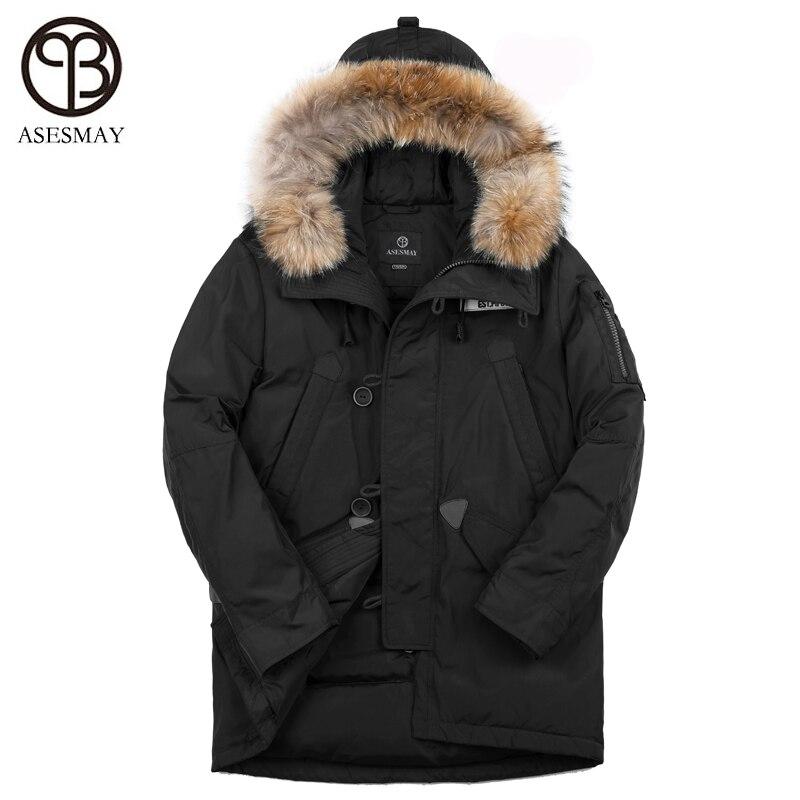 Asesmay marque nouvelle arrivée 90% blanc duvet de canard veste hommes d'hiver de manteau chaud épais plume d'oie à capuche col de fourrure casual outcoat