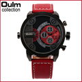 3130 Oulm Men Watches with Double Movt  Leather Band Quartz Men Sports Watches Military Watch