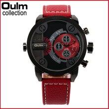 3130 Oulm Homens Relógios com Dupla Movt Pulseira de Couro de Quartzo Dos Homens Relógios Desportivos Militar Assista