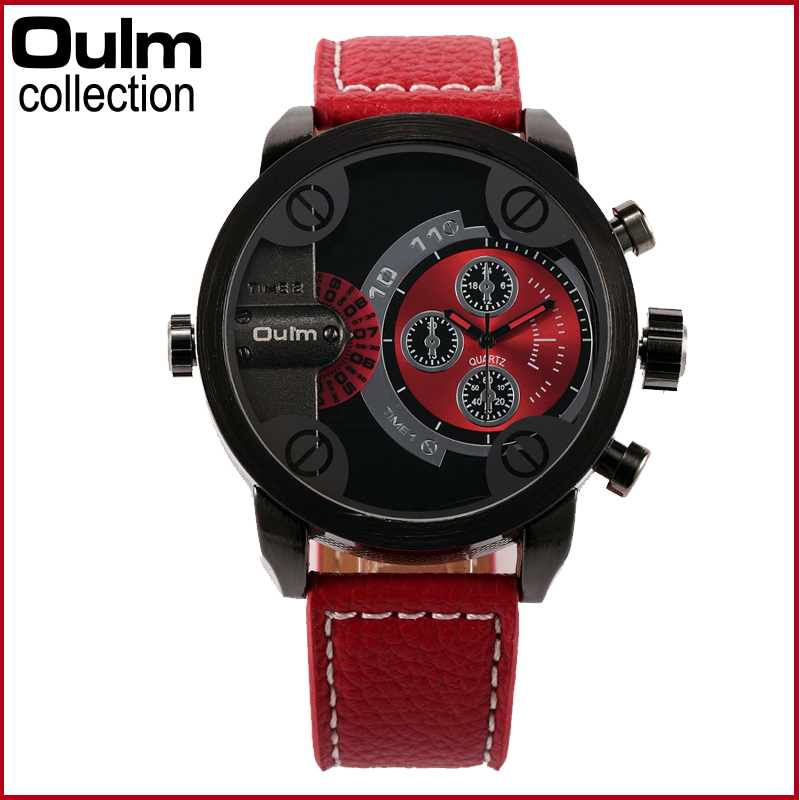 3130 Oulm Men Watches with Double Movt  PU Leather Band Quartz Men Sports Watches Military Watch supra sdm 3130