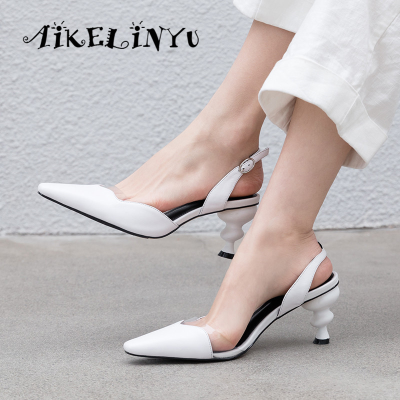 AIKELINYU 2019 Genuine Leather Women Sandals Strange Style Heels Pointed Toe Office Ladies Summer Shoes Woman Pure Color Pumps in High Heels from Shoes