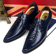 men's fashion wedding party dress snake print genuine leather shoes pointed toe flats shoe lace up man oxford design brand male