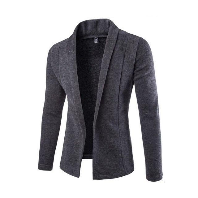 V Neck Sweater Men Autumn New Fashion Mens Slim Cardigans Korean Simple Knitting Long Sleeve Man Coat Black/Light Grey/Dark Grey