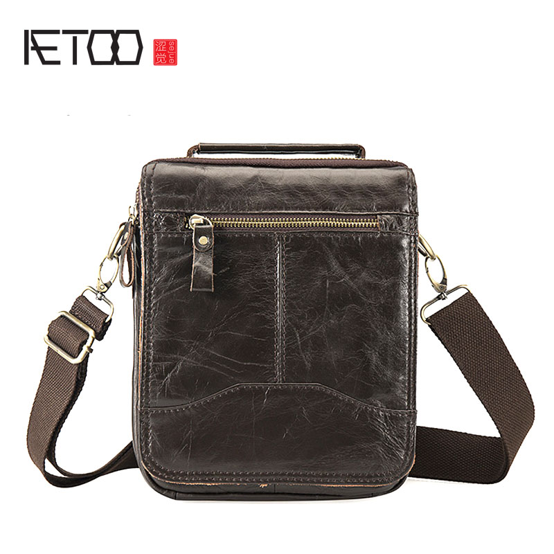 все цены на AETOO Oil wax leather leather Europe and America retro men's 8 inch summer travel simple shoulder diagonal package