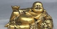 China Buddhism Brass Happy Laugh Maitreya Buddha Hold Yuanbao Statue Sculpture