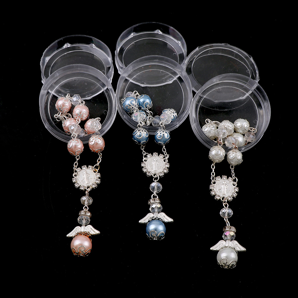 Catholic Religious Rosary Jesus Charm Bracelets  Handmade Pearl Bead Rosary Bracelet  With Charms Cross Catholic