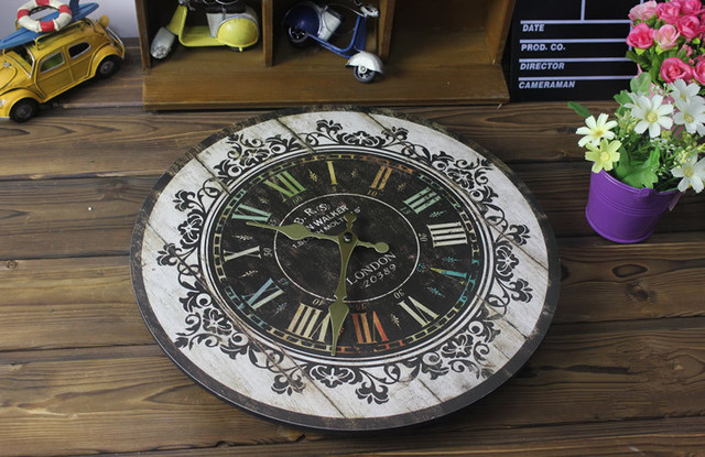 AIBEI-Wooden Coloured Drawing Decorative pattern Digital Clock Vintage Circular Large  Wall Clocks Home Dcor Gifts 35CM