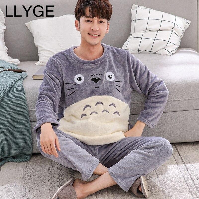 Cartoon Mens Pajama Sets Autumn Winter Coral Fleece Thick Pyjama Suit Sleepwear Men Casual Flannel Warm Nightgown Dropshipping