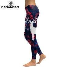 NADANBAO New Arrival Leggings Women Sika Deer 3D Printed Animal Fitness Leggins Slim Elastic Trousers Pants Legging