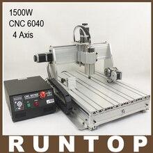 1.5KW 1500 W Cuatro ejes CNC Router Grabado del Grabador de Fresado de Perforación Máquina de Corte CNC 6040