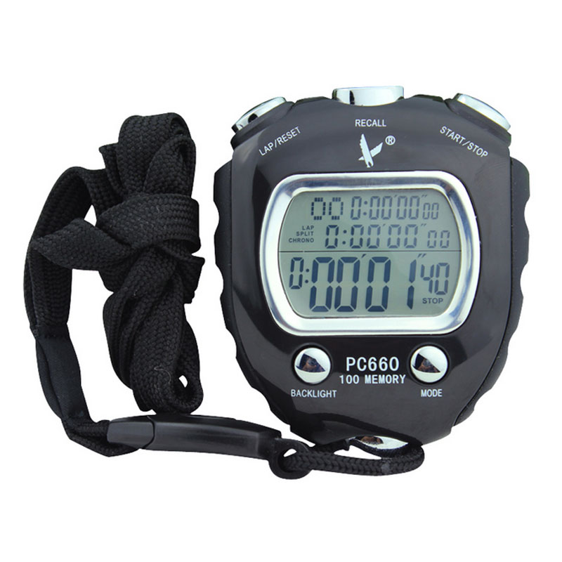 100 Memory Electronic Stop Watch Chronograph Digital Sports Professional Stopwatch Gym Interval Referee Equipment
