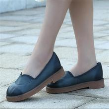 2016 autumn flat handmade genuine leather women shoes comfortable low heels round toe vintage mother shoes 1168-2