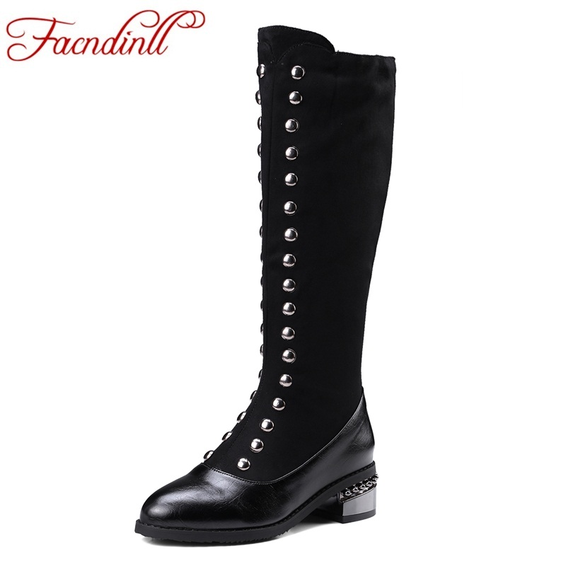 FACNDINLL shoes new fashion women knee high boots black high qulaity med heels pointed toe rivets shoes woman motorcycle boots high qulaity black