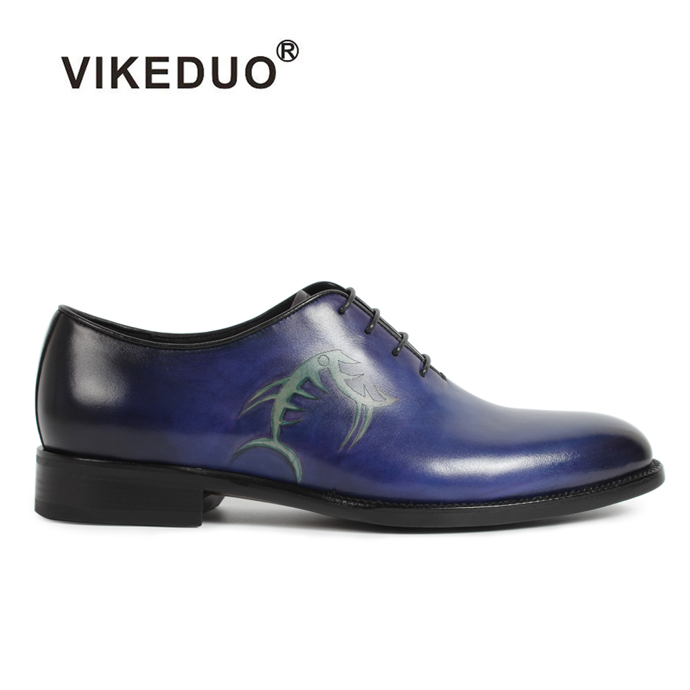 2018 Vikeduo Handmade Vintage Men Oxford Shoes Blue Genuine Cow Leather Formal Dress Party Wedding Hand Painted Original Design 2017 vintage retro custom men flat hot sale real mens oxford shoes dress wedding party genuine leather shoes original design