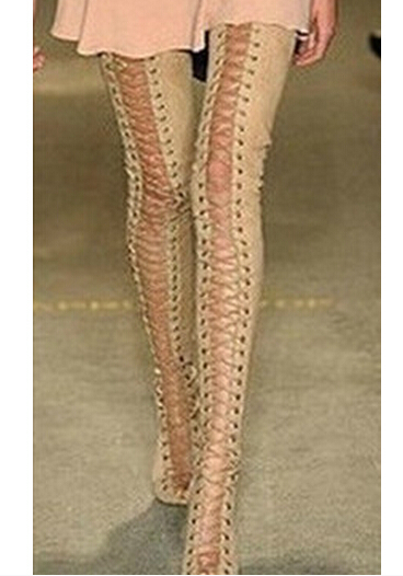 152d27317324 Hot Sale Sexy High Heels Knee High Gladiator Sandals Woman Peep Toe Lace Up  Thigh High Boots Summer Feminina Bota Over The Knee