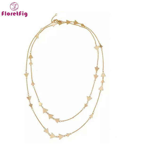 0f018e975 Floretfig fashion necklace for women gold chain necklace silver layered  necklace designer simple triangle necklace
