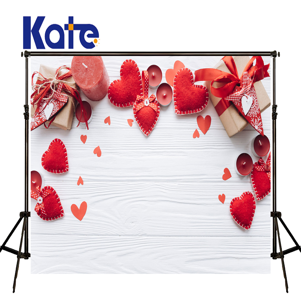 KATE 5x7ft Valentine'S Day Backdrop Photography Backdrops Red Love Gift Box Background White Wood Wall Background for Wedding 8x10ft valentine s day photography pink love heart shape adult portrait backdrop d 7324