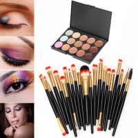 15 Colors Professional Makeup Brush Set Contour Face Cream Makeup Concealer Palette 20 Make Up Brushes