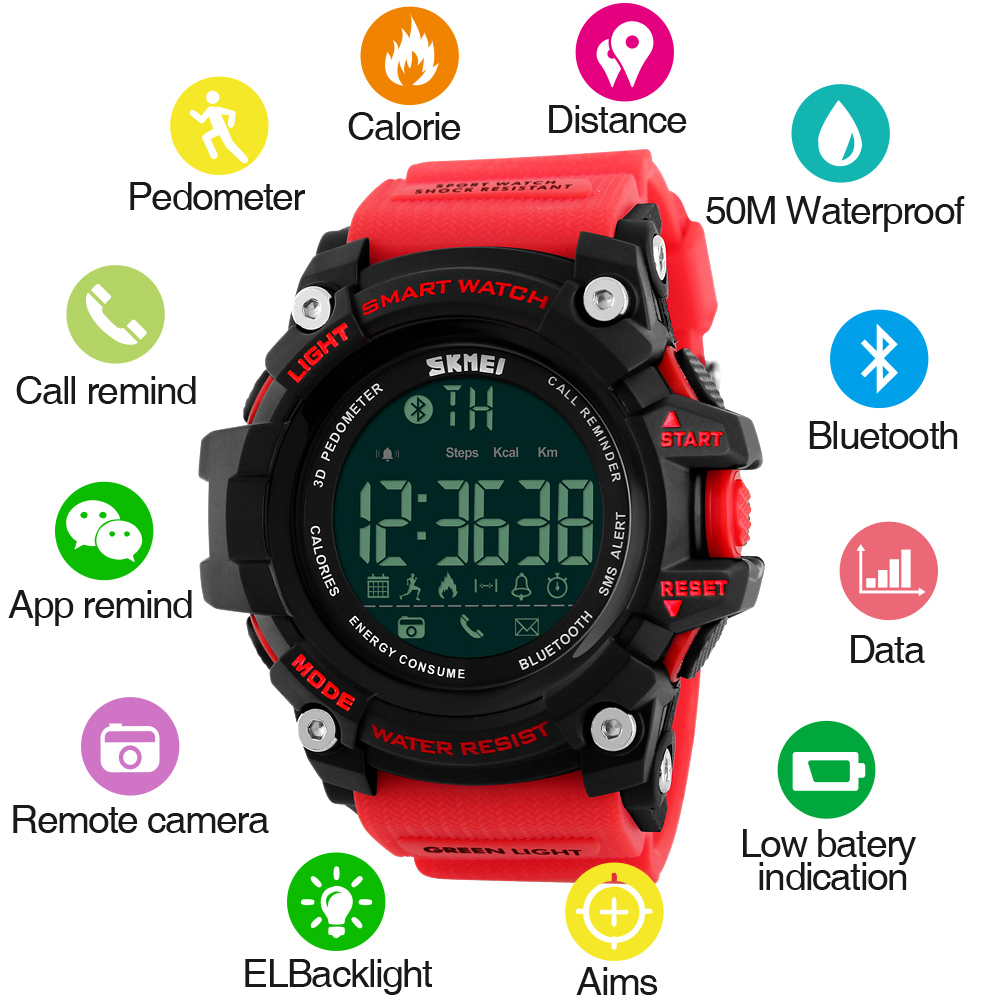 SKMEI Heren horloge stappenteller Calorieën Smart horloge Mode Buitensporten Horloges 50M Waterbestendig Digitale horloges 1227/1384