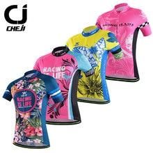 Cheji 2016 Para Mujer de Manga Corta Ciclismo Jersey Transpirable de Secado rápido Al Aire Libre Ropa Deportiva Bike Shirts Camisa de ciclismo