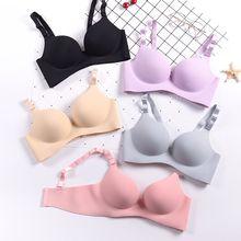Solid Deep U Cup Bras Wire Free Bralette Female Underwear Women Push Up Lingerie Seamless Bra цена