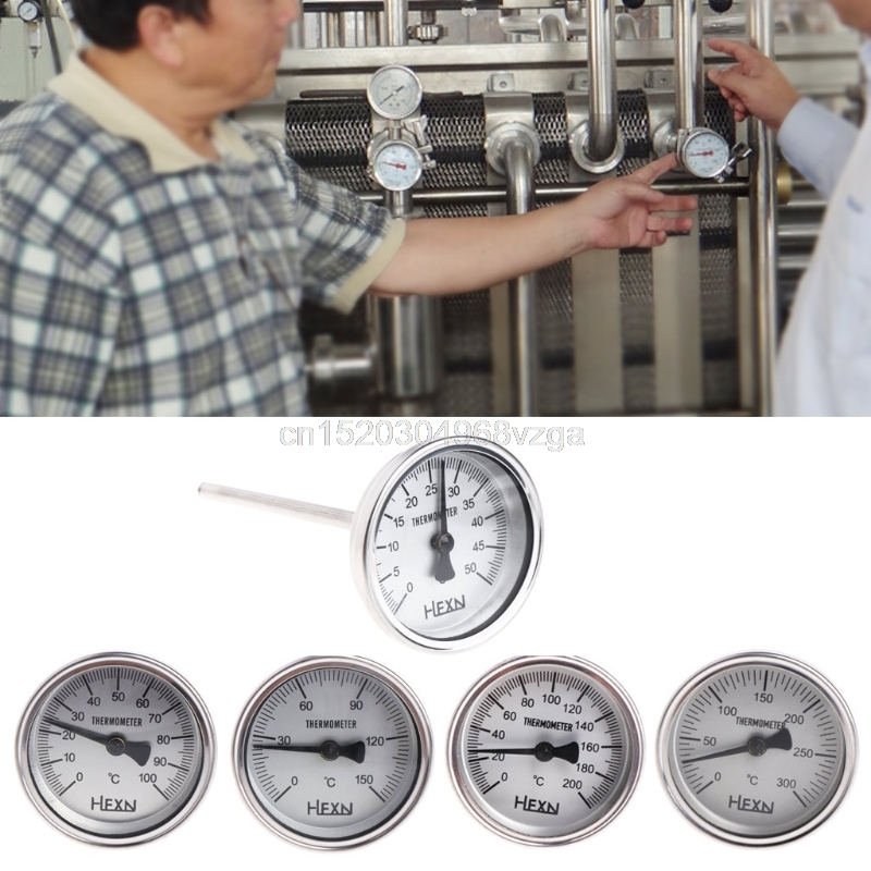 Stainless Steel Bi-metallic Thermometer 14PT Thread L=100mm 0~50~300 degree WSS-303 Pipe Thermometer #H028# Drop shipping