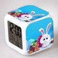 2016The Secret Life of Pets reloj pertador LED 7 Color Flash Digital Alarm Clock Night Light Watch Day Date thermometer Clocks